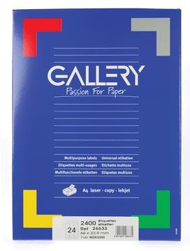 Gallery witte etiketten ft 66 x 33,9 mm (b x h), ronde hoeken, doos van 2.400 etiketten