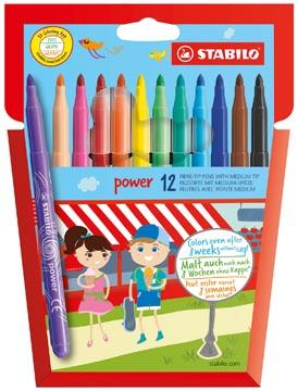 STABILO power viltstift, etui van 12 stuks in geassorteerde kleuren