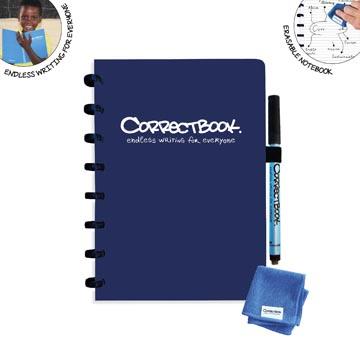Correctbook A5 Original: uitwisbaar / herbruikbaar notitieboek, gelijnd, marineblauw