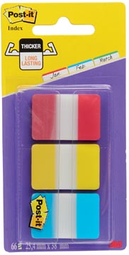 Post-it Index Strong, ft 25,4 x 38 mm, set van 3 kleuren (rood, geel en blauw), 22 tabs per kleur