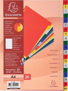 Exacompta tabbladen voor ft A4, uit PP, van A tot Z, 20 tabs, met indexblad, geassorteerde kleuren