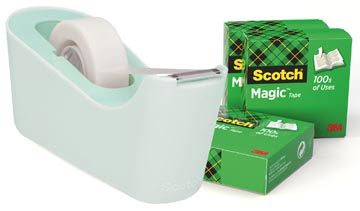 Scotch verzwaarde plakbandafroller inclusief 4 rollen Scotch magic tape, muntgroen