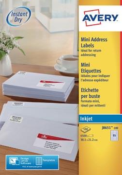 Avery witte etiketten QuickDry ft 38,1 x 21,2 mm (b x h), 6.500 stuks, 65 per blad