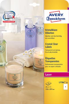 Avery transparante Crystal Clear etiketten ft 210 x 297 mm, 25 etiketten, 1 per vel